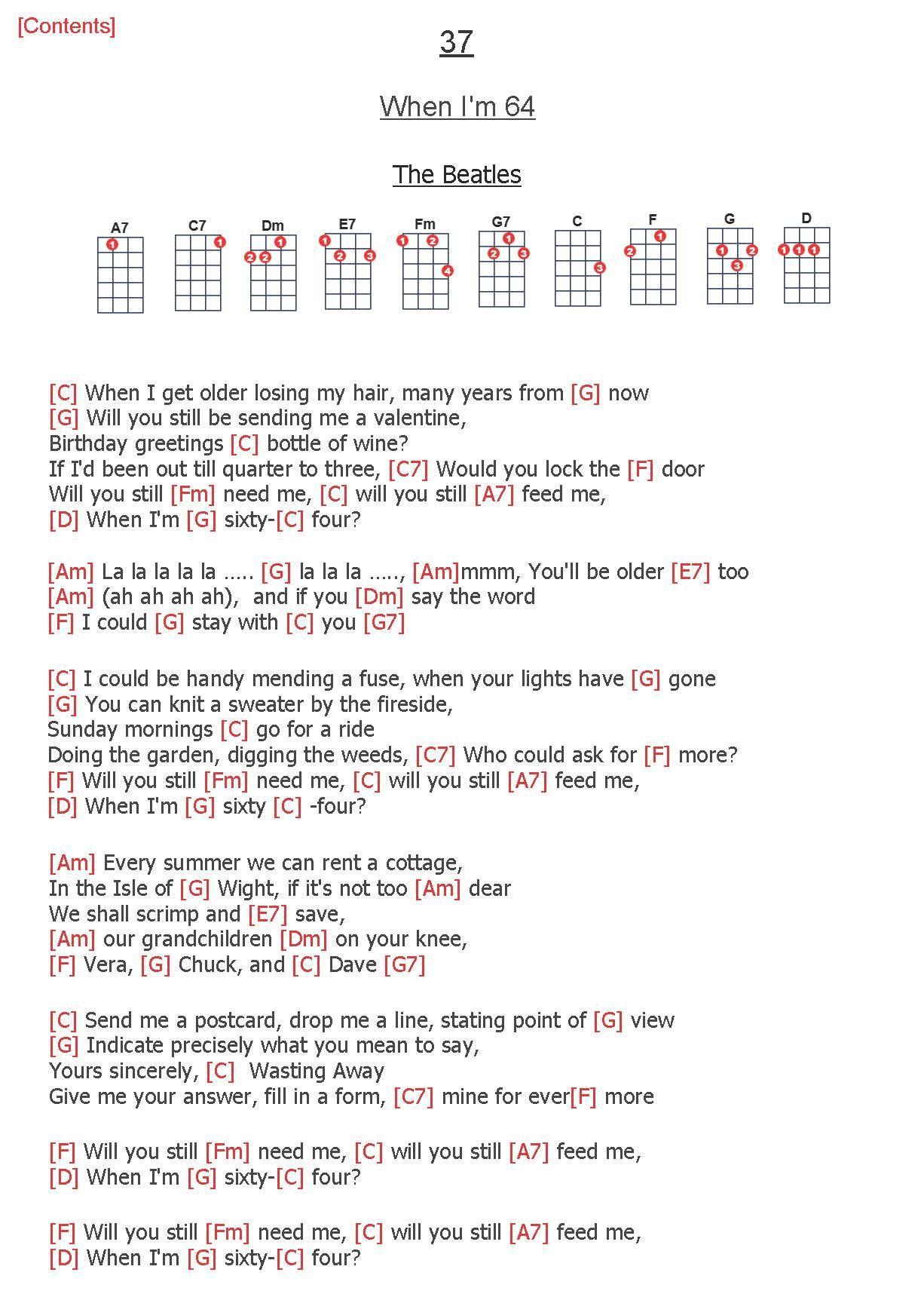 37 When I M 64 The Beatles Beatles Ukulele Ukelele Chords Songs Ukulele Chords Songs