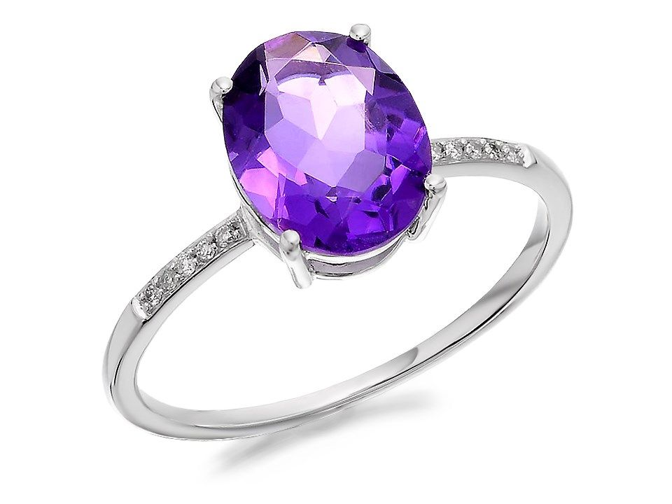 0944458ec 9ct White Gold Amethyst And Diamond Ring - D7914 in 2019 | Аметист ...