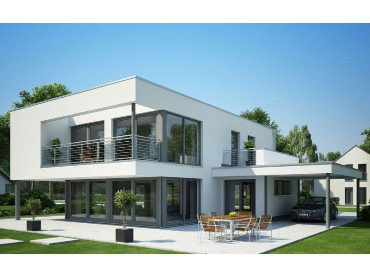 Ein modernes Einfamilienhaus mit einem Flachdach. Eine besonderes ...
