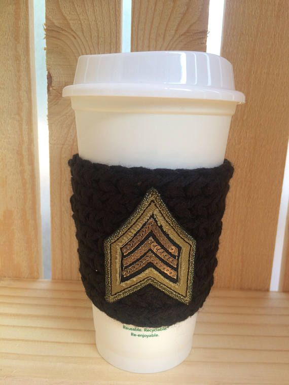 military inspired reusable crochet knit coffee cup sleeve cozy