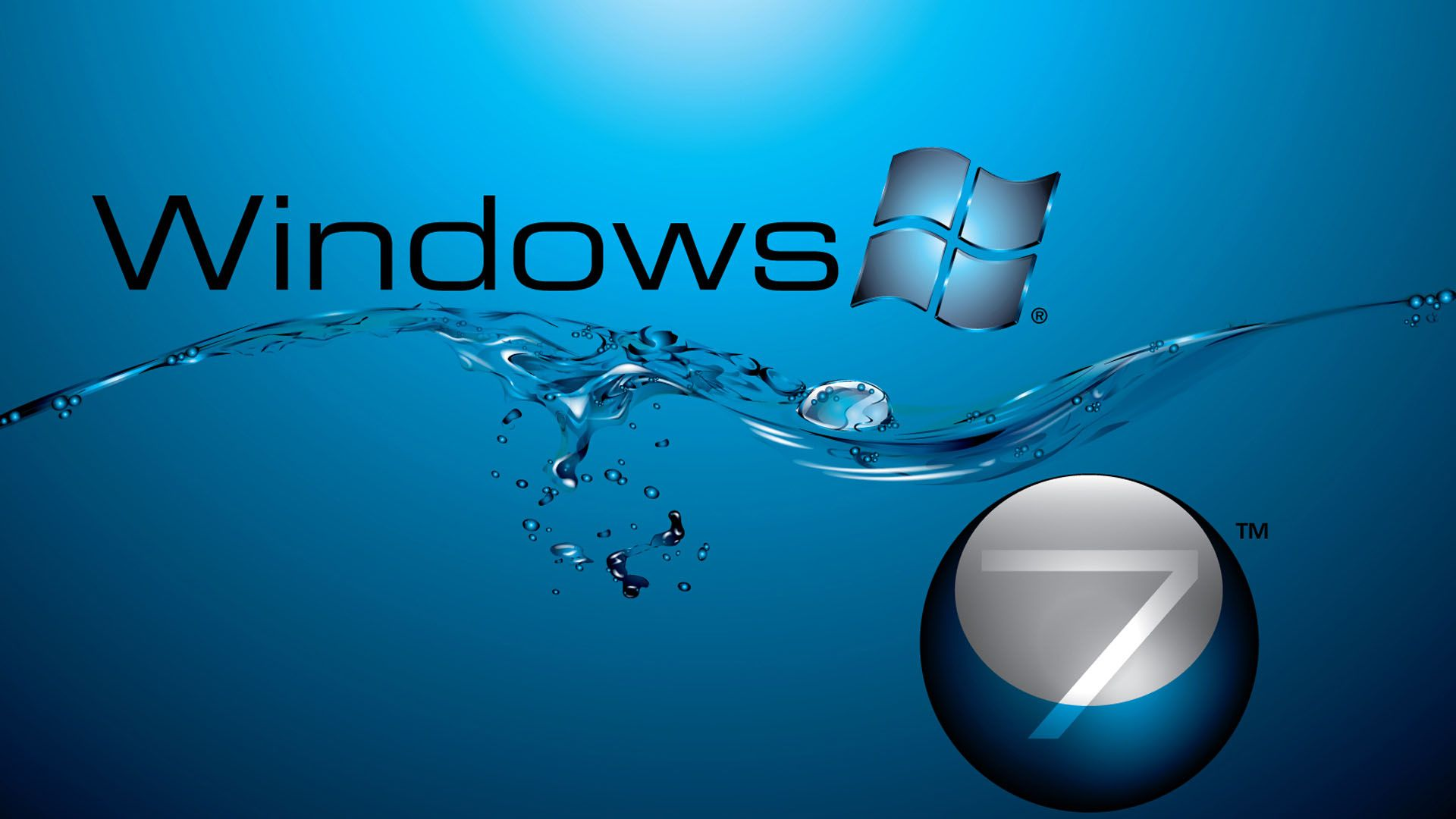 windows 7 in water flow 1920Ã 1080 hd 1080p wallpaper lugares