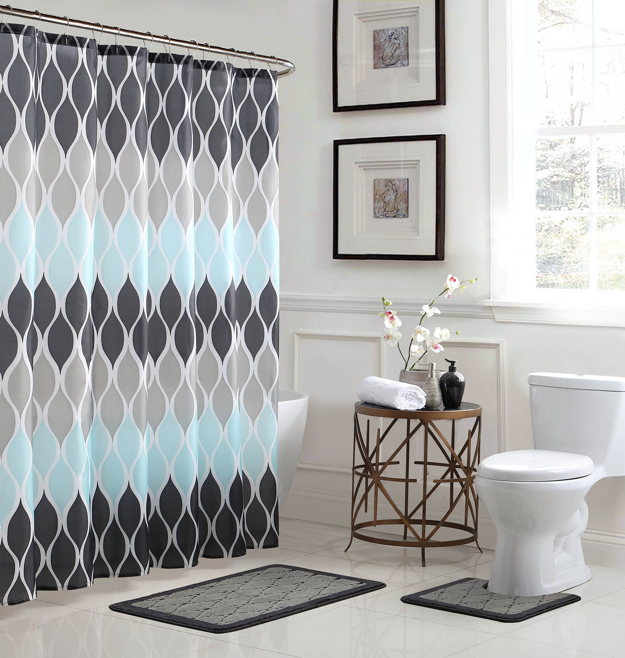 Home Blue Shower Curtains Bathroom Accessories Sets Shower