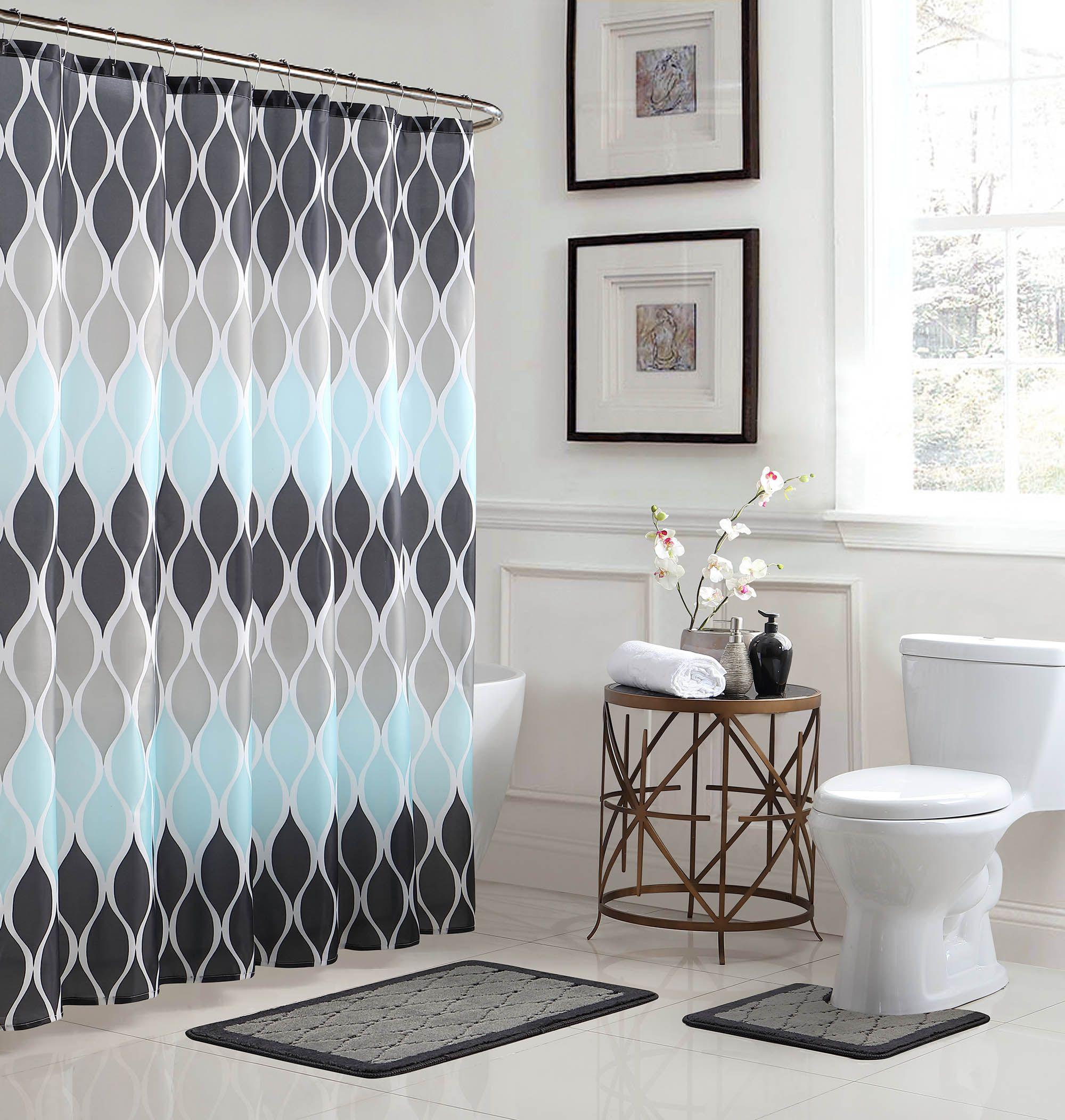Home Blue Shower Curtains Bathroom Accessories Sets Shower