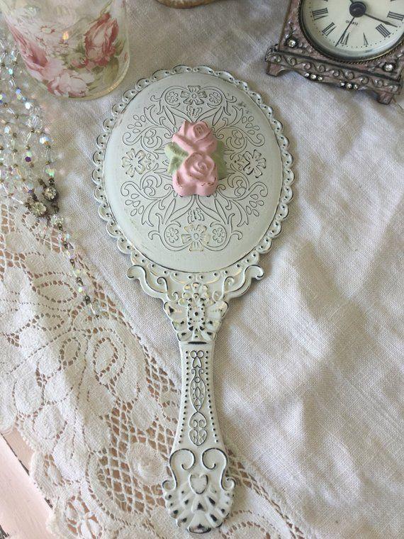 shabby hand held vanity mirror dressing table mirror