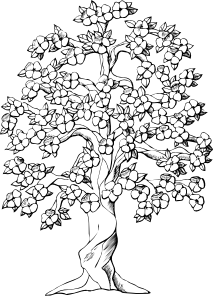 Flowering Tree clip art Tree coloring page, Coloring