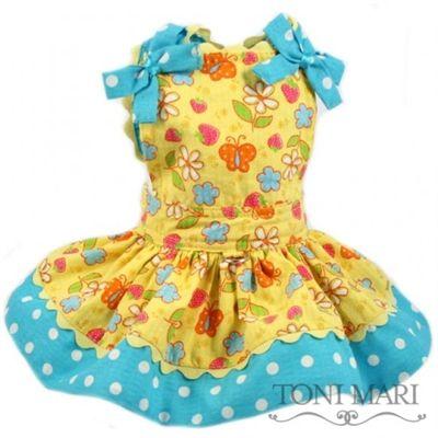 Butterflies Yellow/Aqua Dog Dress