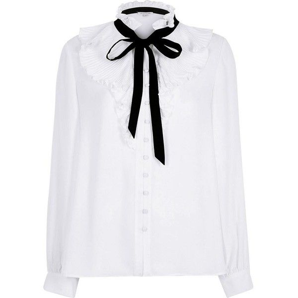 a8a0da0341d45 River Island White frill neck pussybow blouse ( 76) ❤ liked on Polyvore  featuring tops