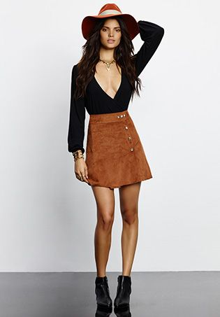 Brown Mini Faux Suede Skirt   Black Top | Clothes/Fashion/Fancy ...