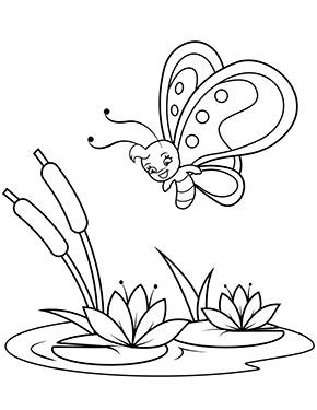 Ausmalbild Schmetterling Und Seerose Malvorlagen Blumen Kostenlose Ausmalbilder Ausmalbilder Schmetterling