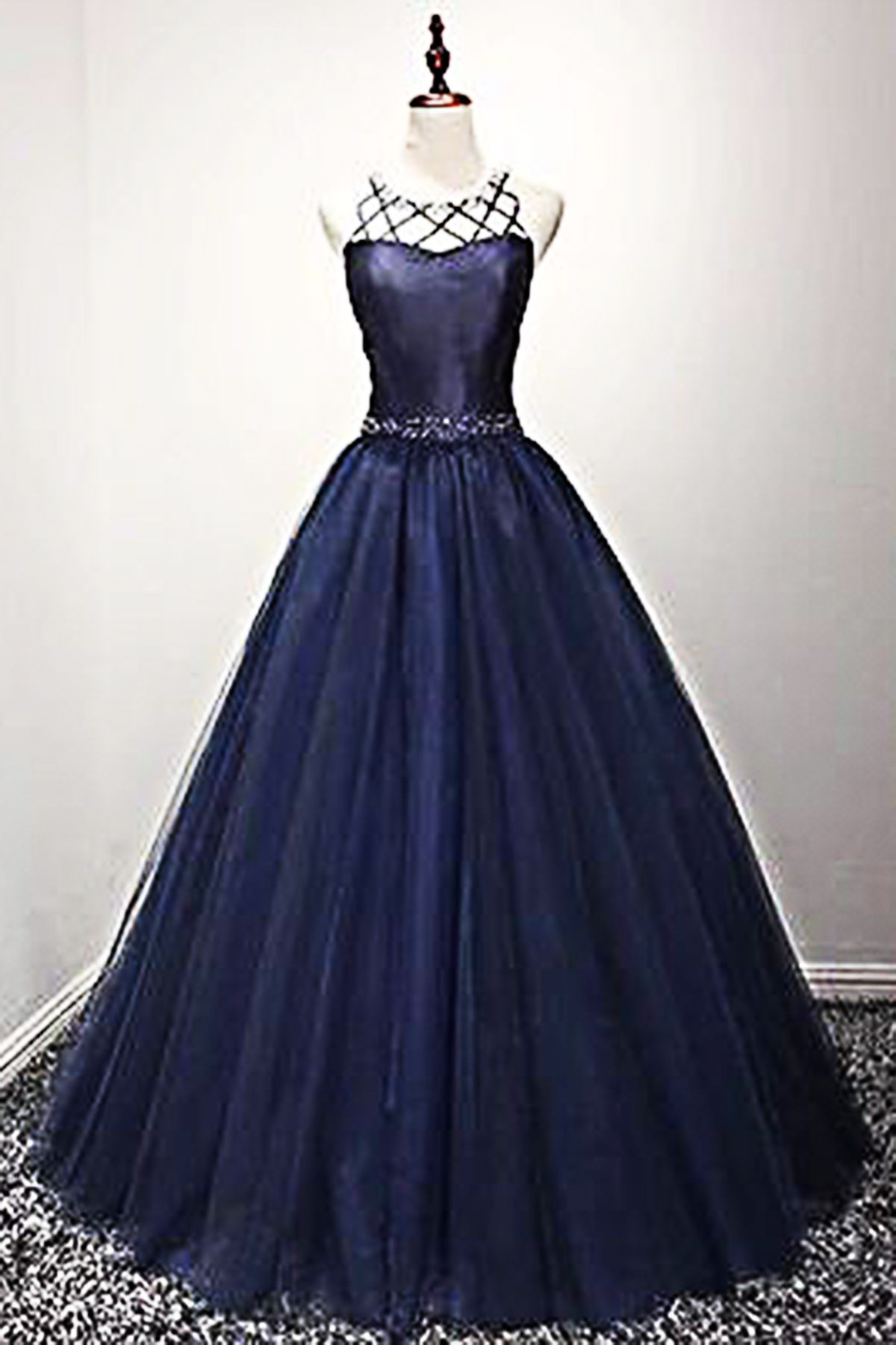 Navy Prom Dress Tulle Prom Dress Unique Long Evening For Teens