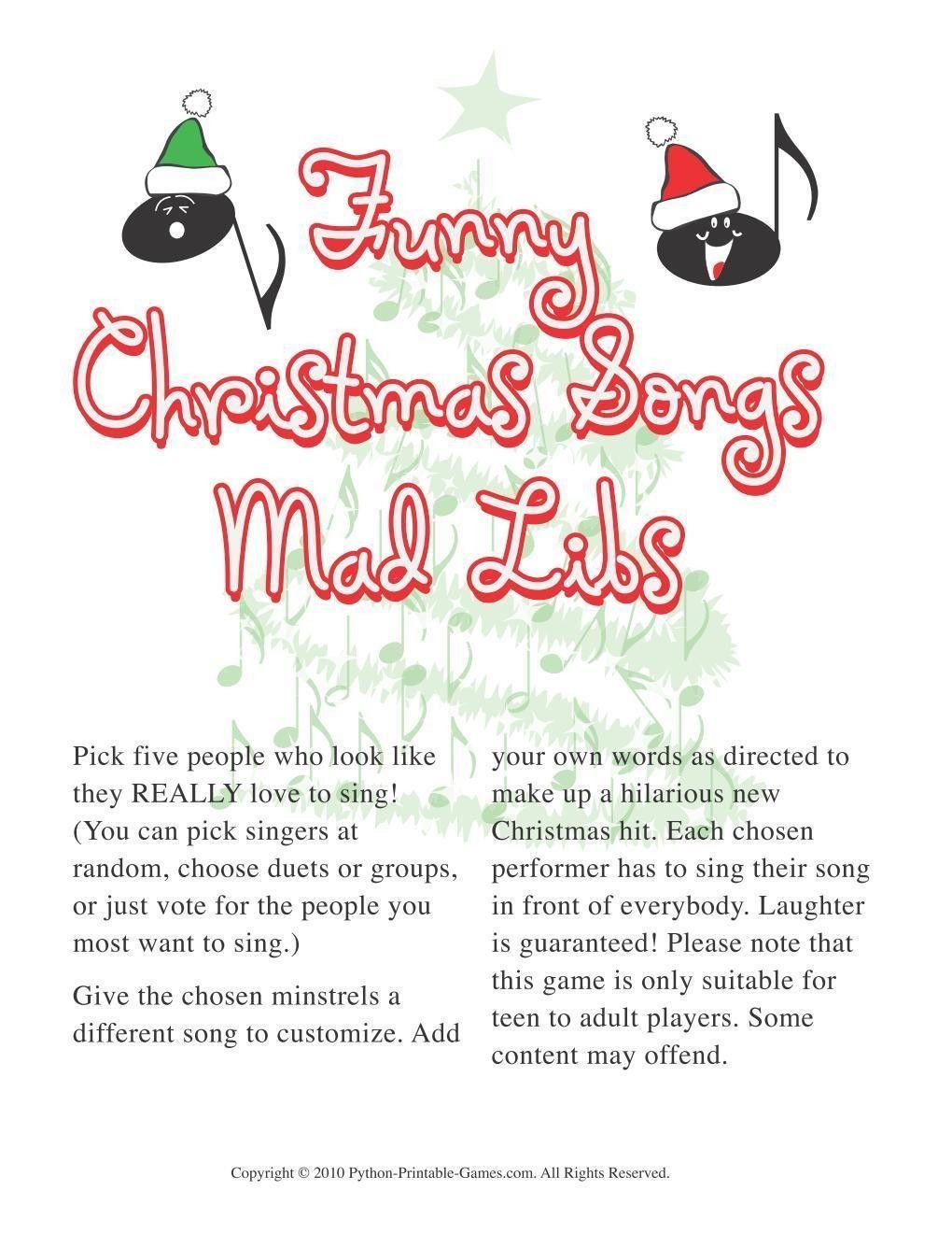 Christmas Christmas Funny Songs Mad Libs Printable
