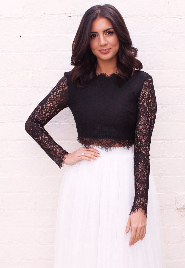 a9bf32a4486 Eyelash Lace Long Sleeve Scoop Back Crop Top in Black - One Nation Clothing  - One Nation Clothing - 1