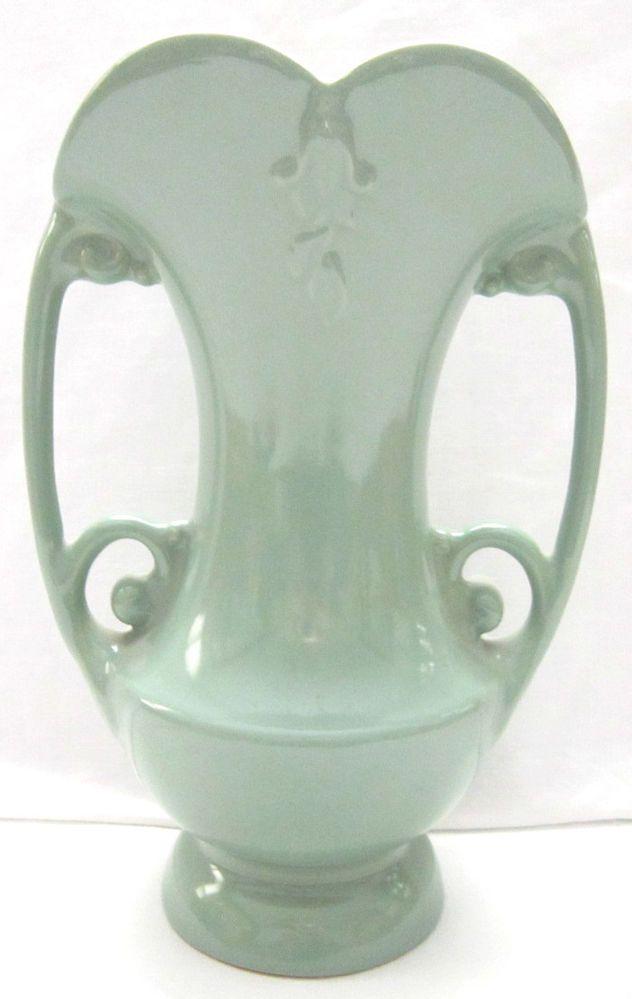 Vintage 1940s Abingdon Pottery Handled 522 Floral Green Vase