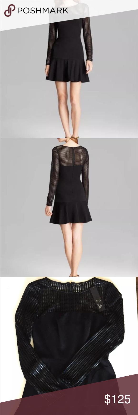 Nwt black halo black mesh top peplum dress black halo womens black