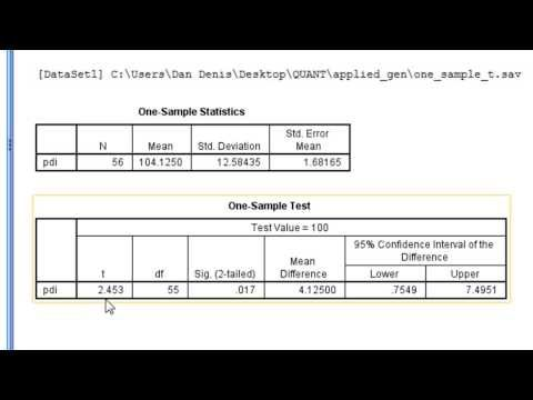 SPSS - One-Sample T-test - YouTube research Pinterest Null