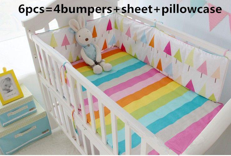 cfef19b8d3e 6pcs baby bedding set curtain crib bumper baby cot sets baby bed bumper