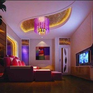 Media Room With Flush Mount Lamp And Led Strip Lights House Led Strip Lights In Lighting Fixtures Categor Led Strip Lighting Strip Lighting Led Lighting Home