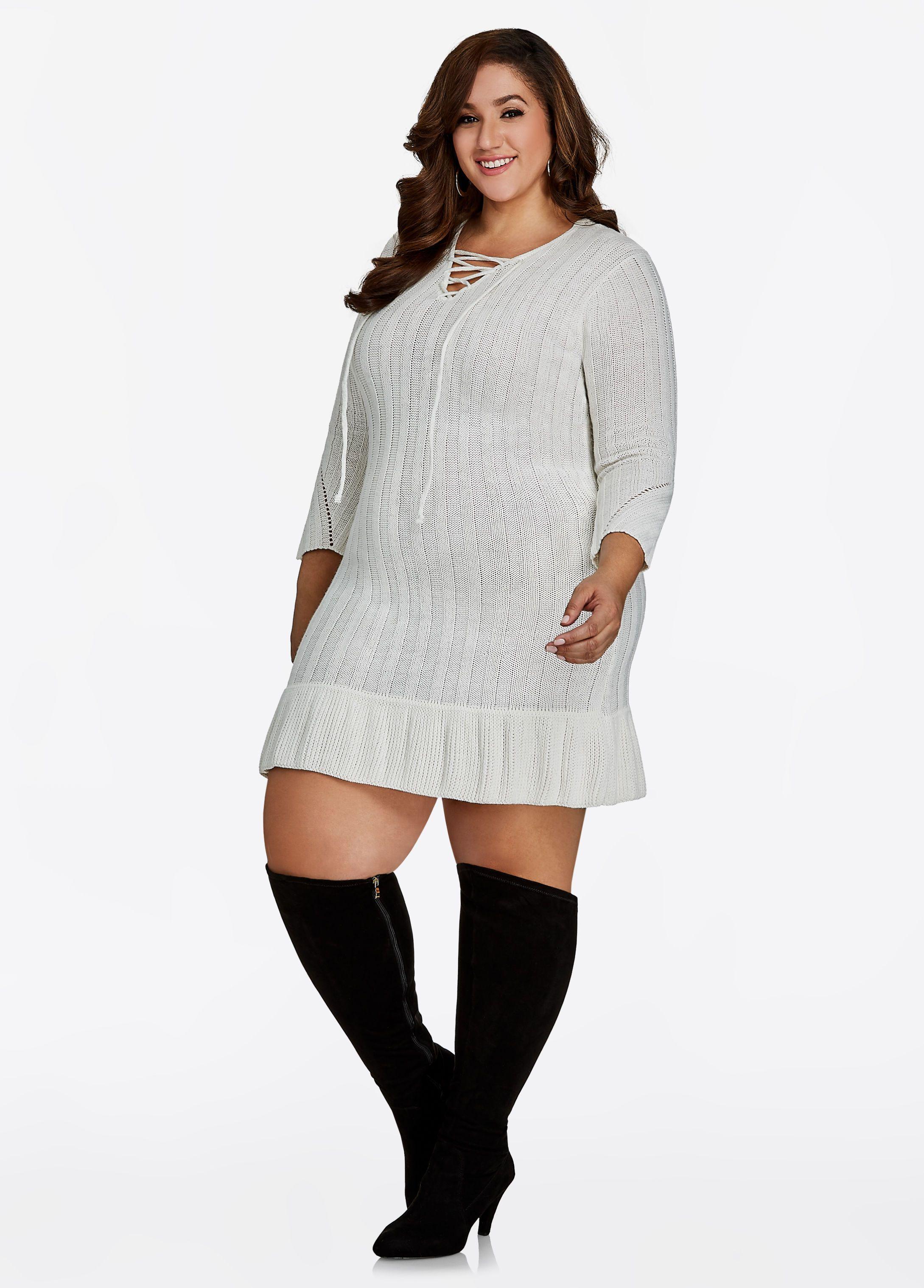 10cb48417ac6 Lurex Sweater Dress - Ashley Stewart