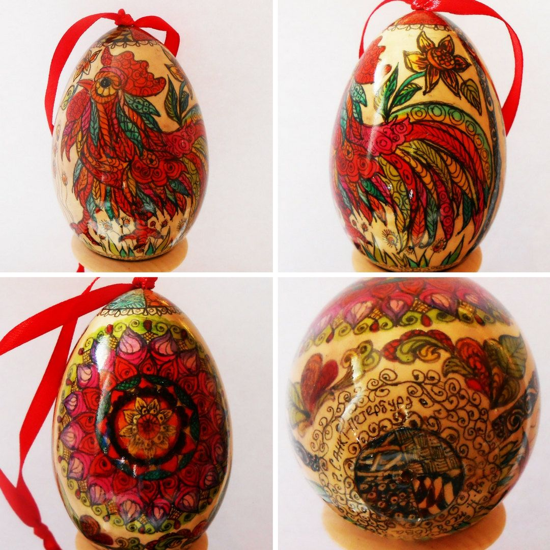 The wooden Egg in zentangl style with Rooster and mandala in handmade by Artworkshop1 on Etsy
