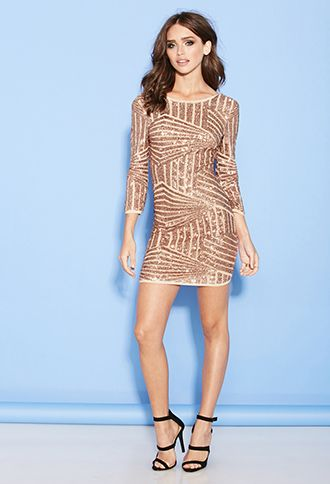 bd0b7bc8d43 Sequined Abstract Pattern Dress