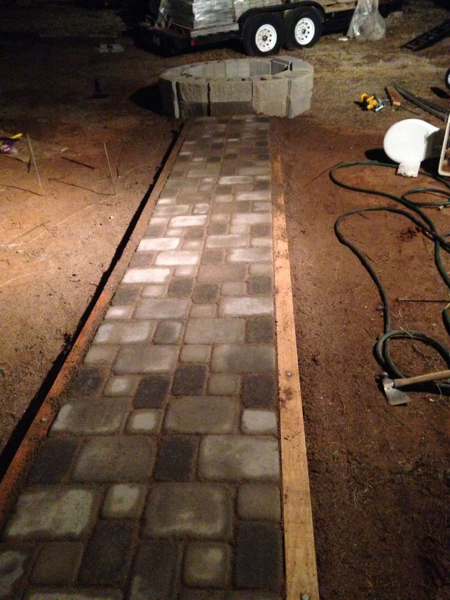 paver walkway to cinderblock fire pit amazing work done by my