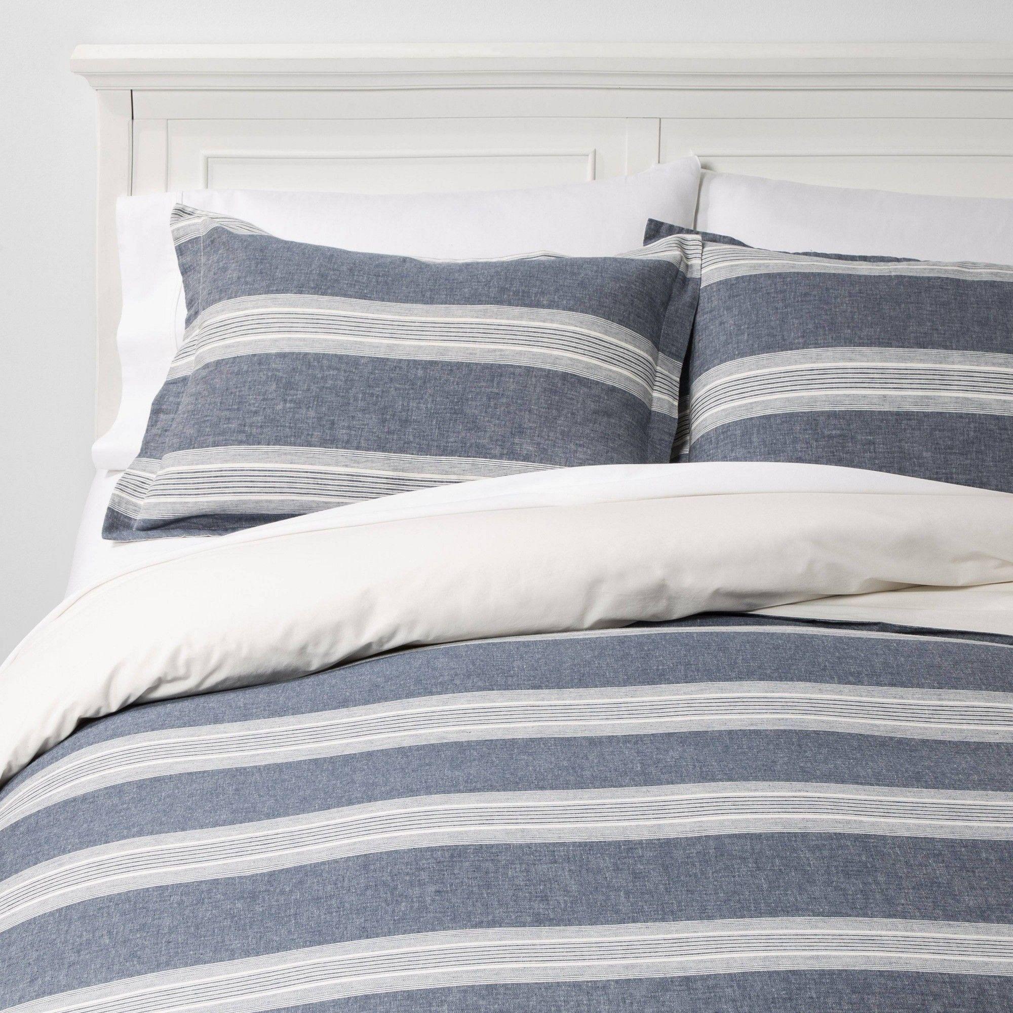 Full/Queen Chambray Yarn Dye Stripe Duvet & Sham Set Blue