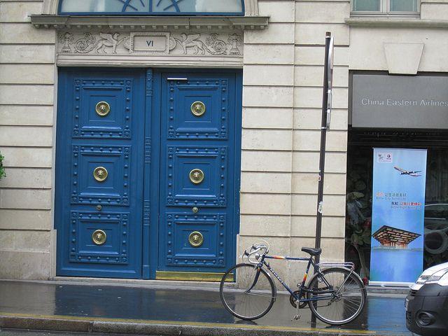 Blue Door, Blue Bicycle, Paris.