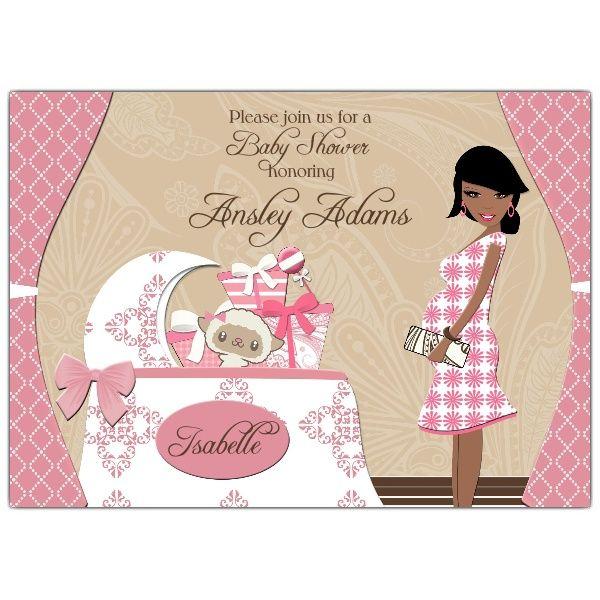 Chic Nursery Girl African American Baby Shower Invitations