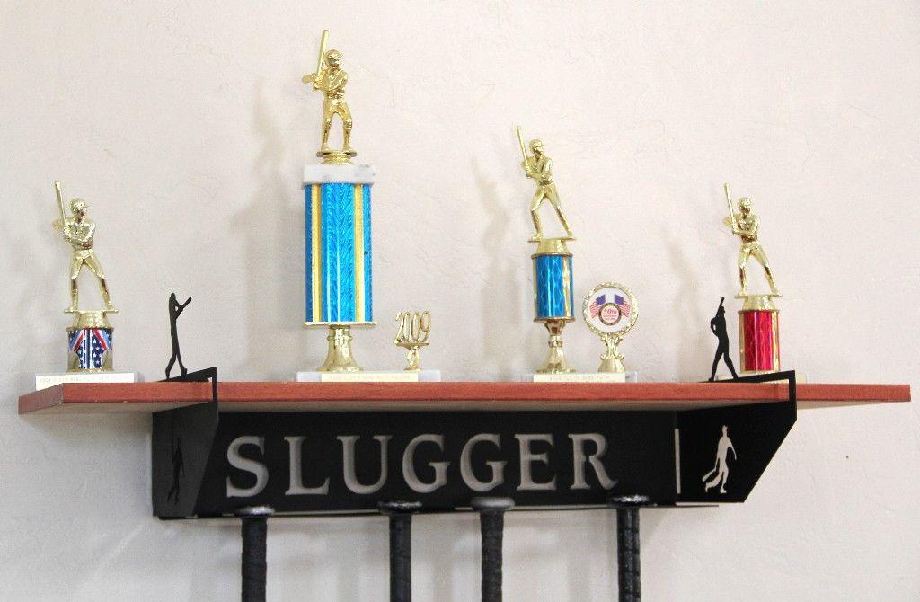 Baseball Trophy Shelf And Bat Holder Personalized Medals Holder Or Bat Hanger Trophy Shelf Medal Holders Baseball Hat Racks