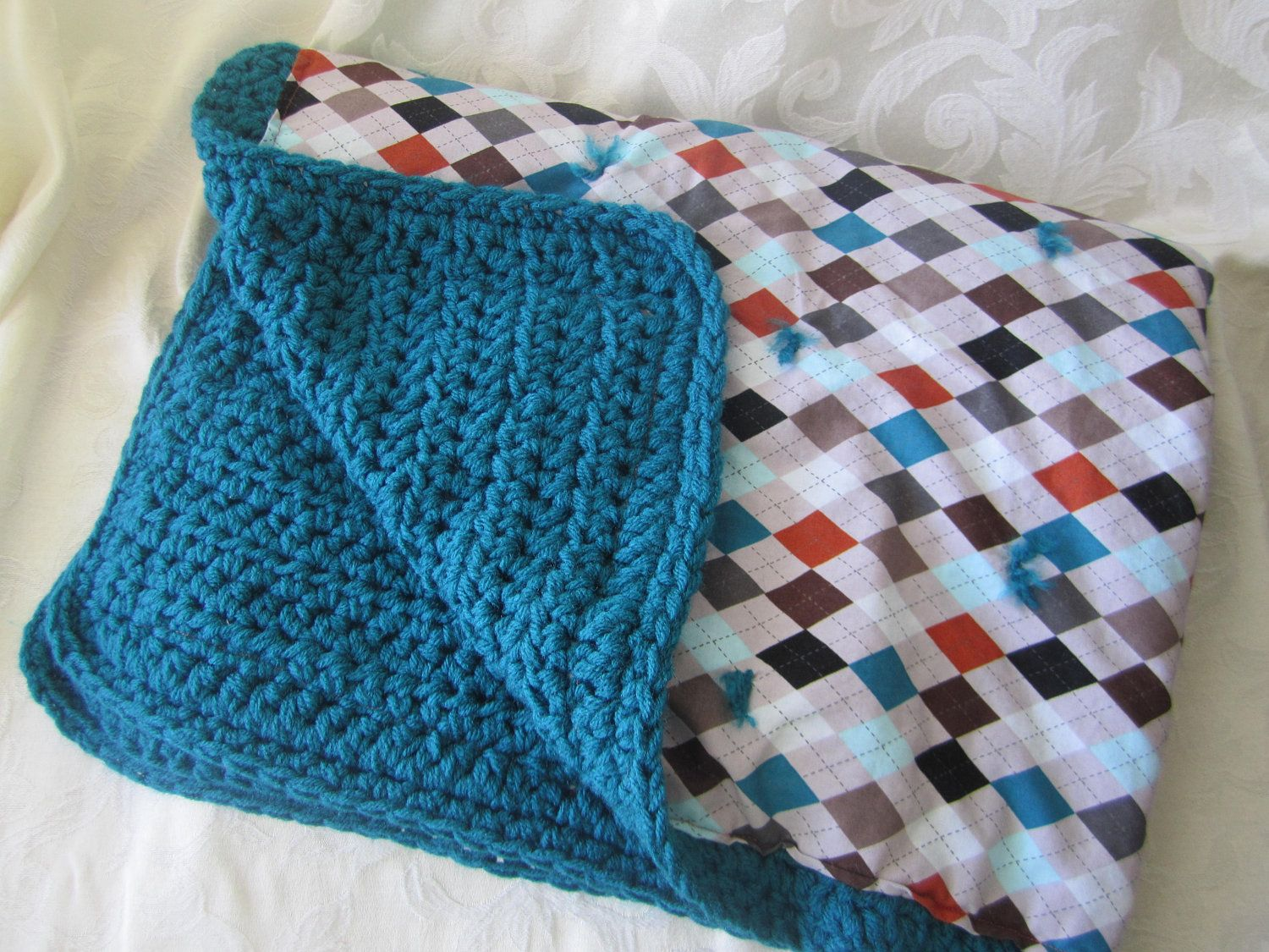 Ready to Ship Dark teal chunky double sided crocheted baby blanket ...
