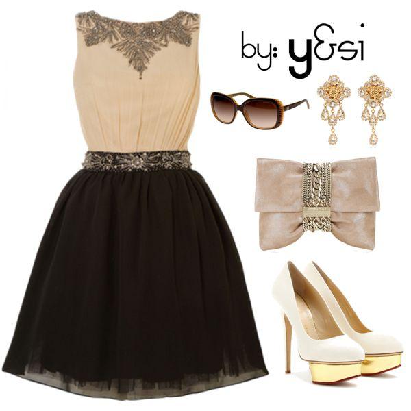 Vestido de fiesta negro con beige
