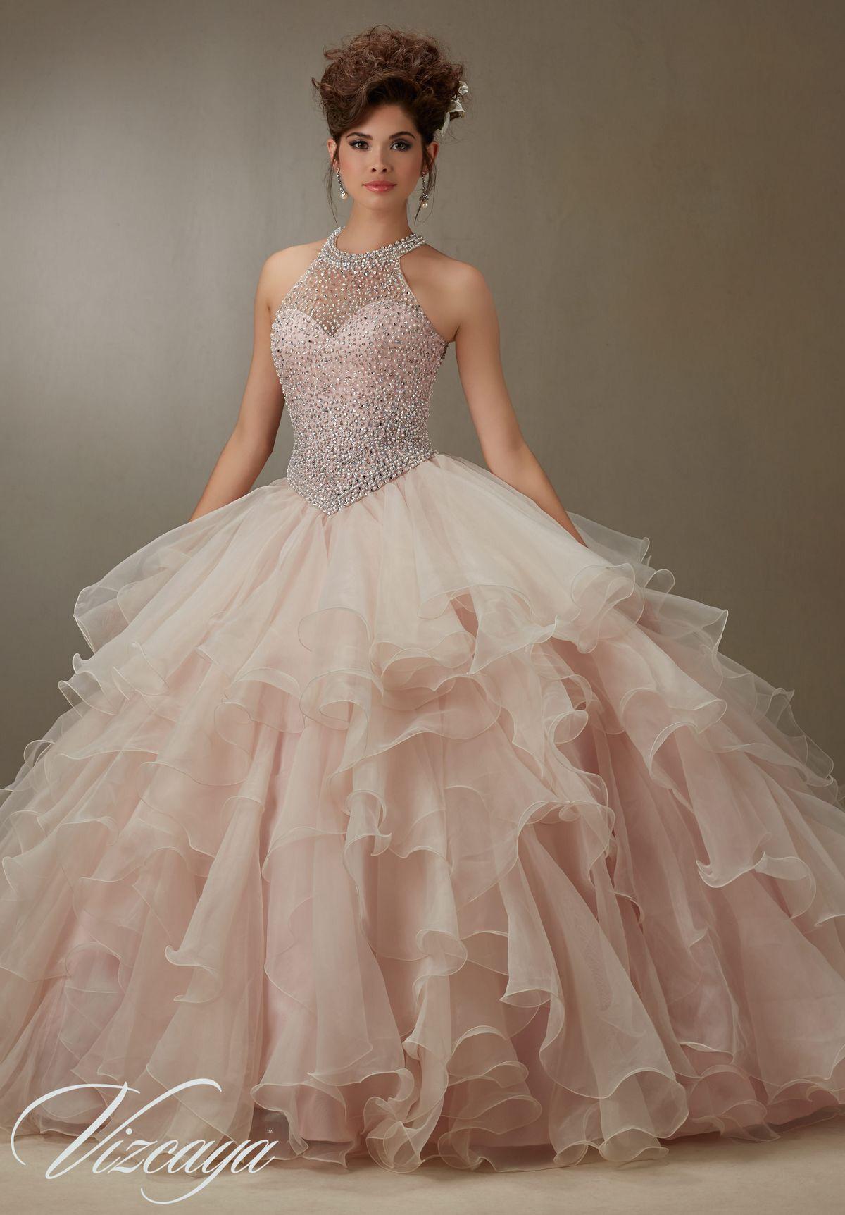 a74b382d333 Flounced Organza Skirt with Pearl Beaded Bodice Quinceañera Dress ...