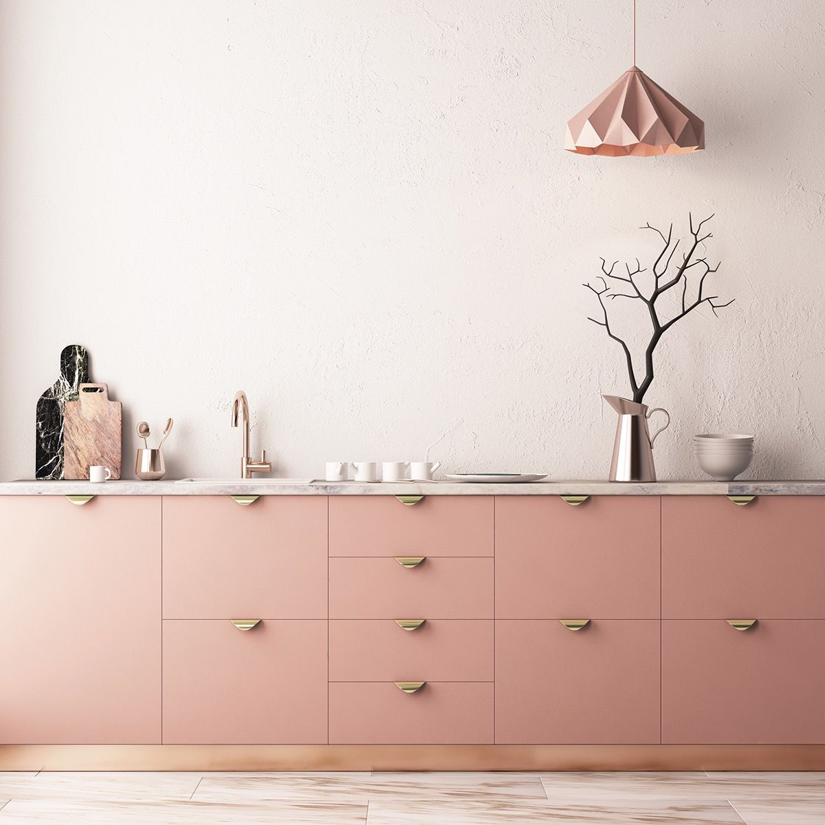 51 Inspirational Pink Kitchens With Tips Accessories To Help You Design Yours Interior Design Kitchen Pink Kitchen Cabinets Pink Kitchen