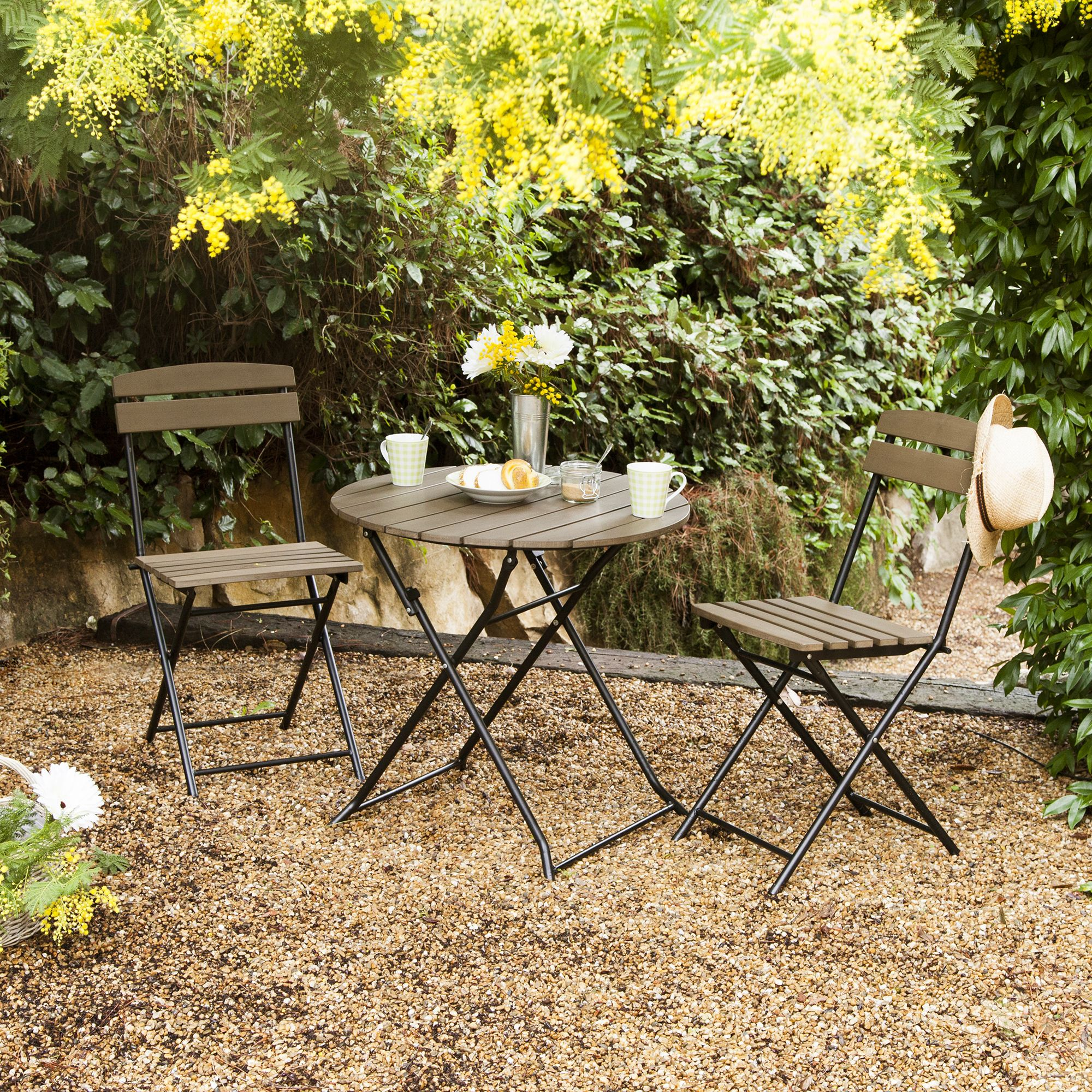 Salon jardin ou balcon pliant 2 : table ronde + 2 chaises ...