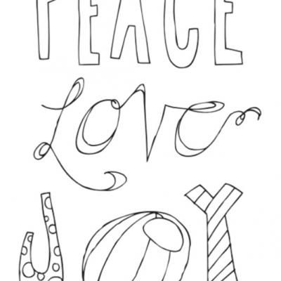 peace love joy free printable poster christmas coloring pages printable - Free Printable Holiday Coloring Pages