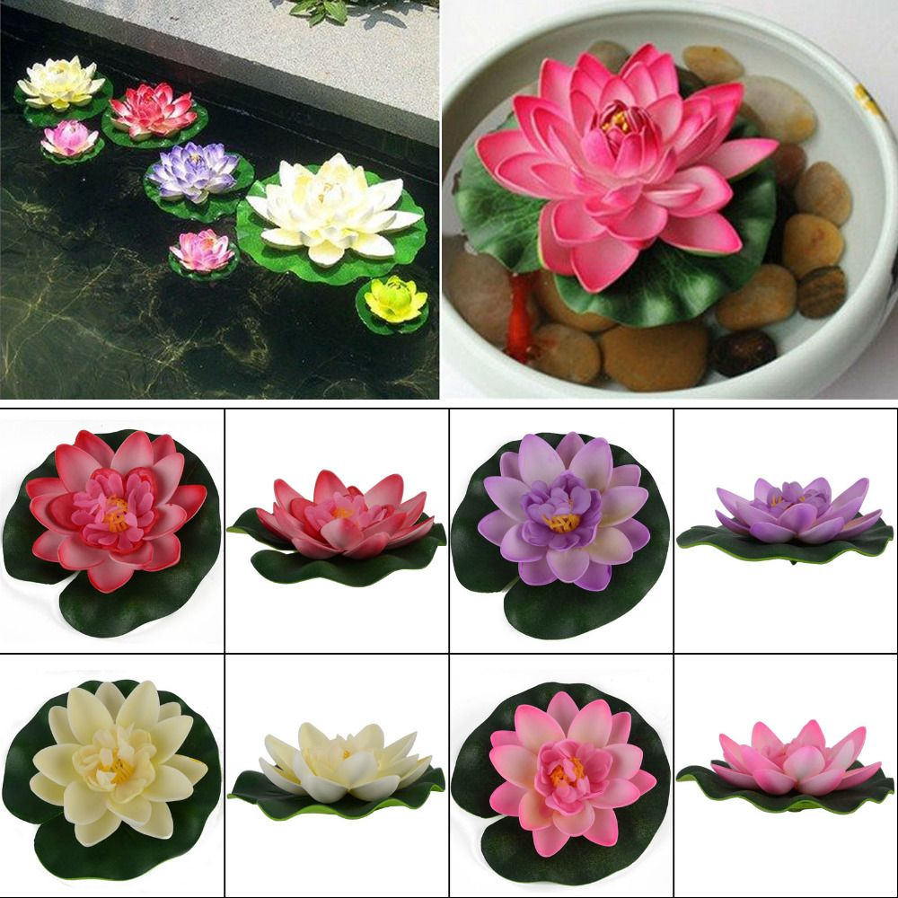 1pc Artificial Lotus Water Lily Floating Flower Garden Pool Pond