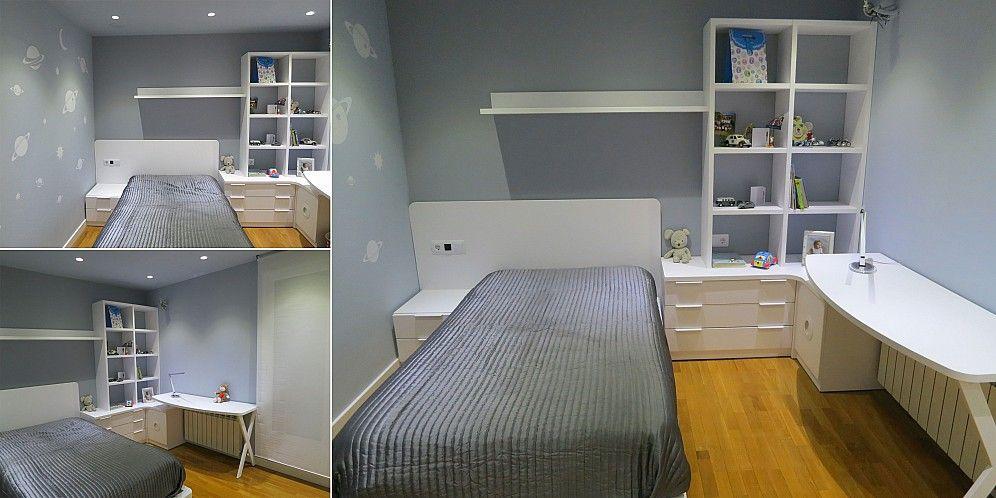 Dormitorio juvenil formado por una cama mesilla de noche - Estanterias para escritorios ...