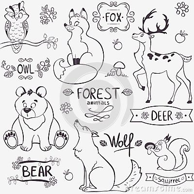 Forest Animals Silhouette Stock Photos - Image 35566383 DIY - copy nativity scene animals coloring pages