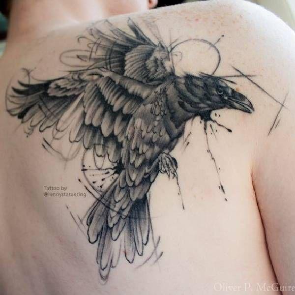 7d887488c11a 40 Amazing Raven Tattoos | Crow tattoos | Tattoos, Raven tattoo ...