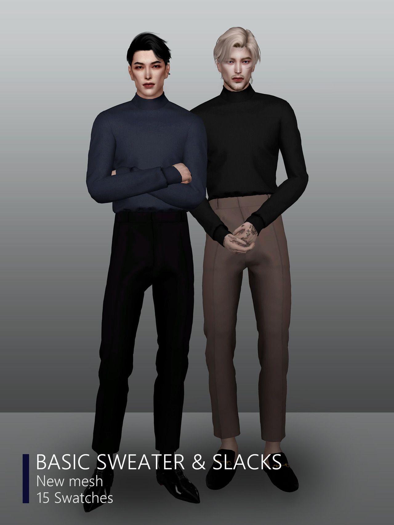 "1e262ec04940c rona-sims: "" [RONA] basic sweater & slacks • TS4 • New mesh • 15 Swatches •  HQ Compatible DOWNLOAD / T.O.U """