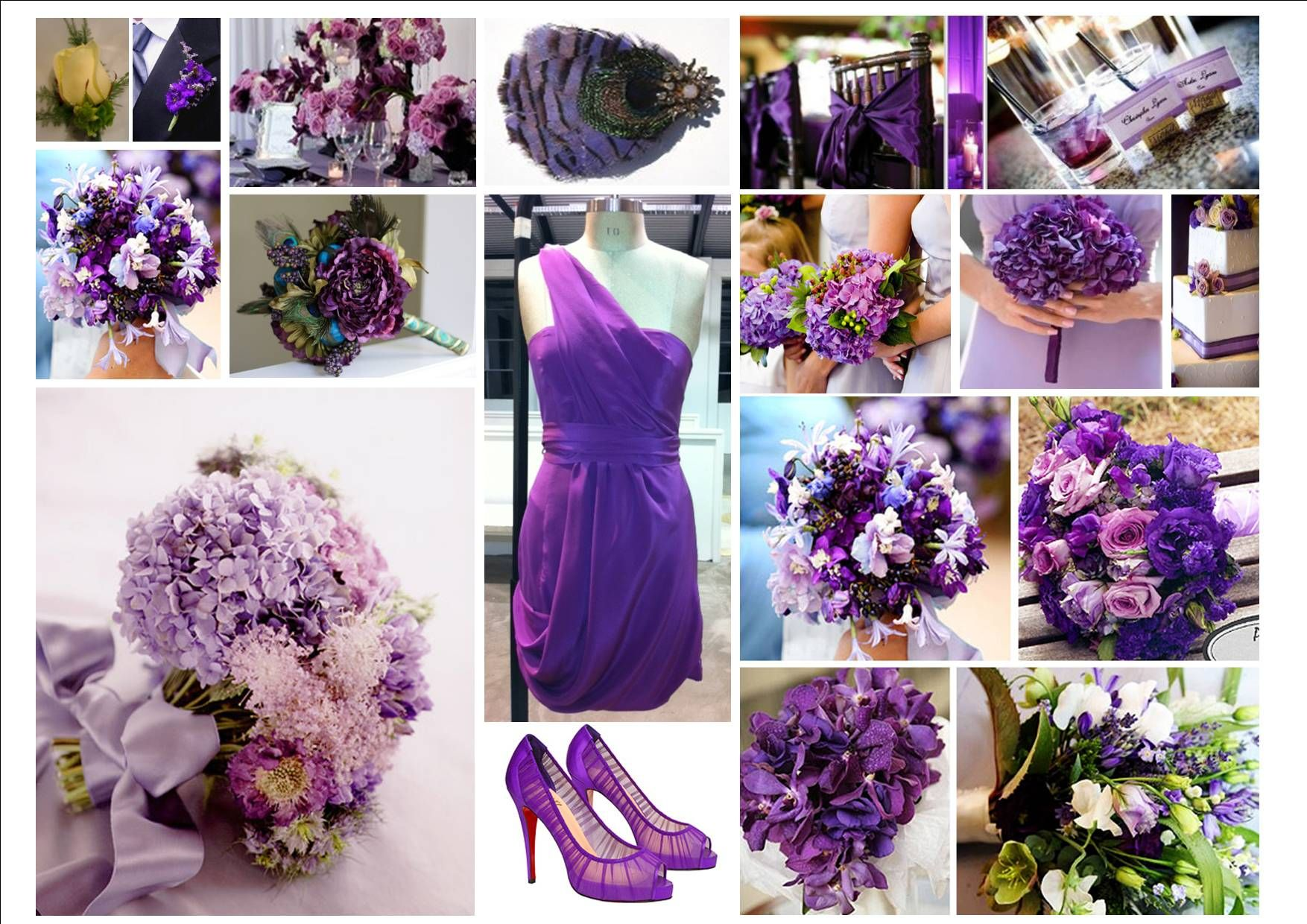 Wedding Bouquets In Purple Lavender Blue And Champagne