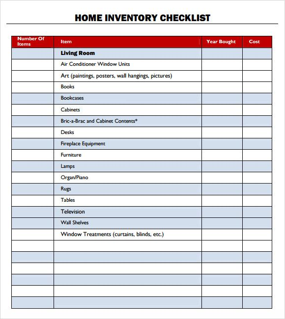 Home Inventory Checklist stationary Pinterest Template