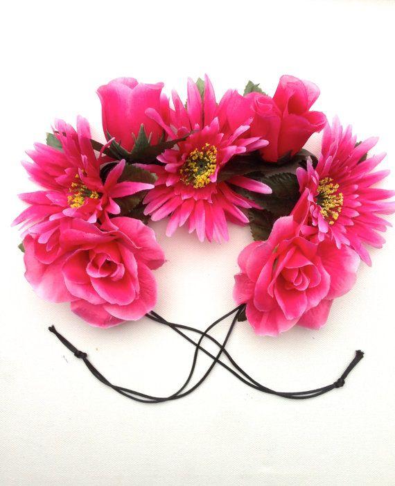 pretty in pink mixed flower tie headband