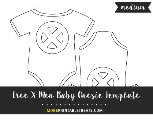 Free X-Men Baby Onesie Template - Medium Size Shapes and Templates