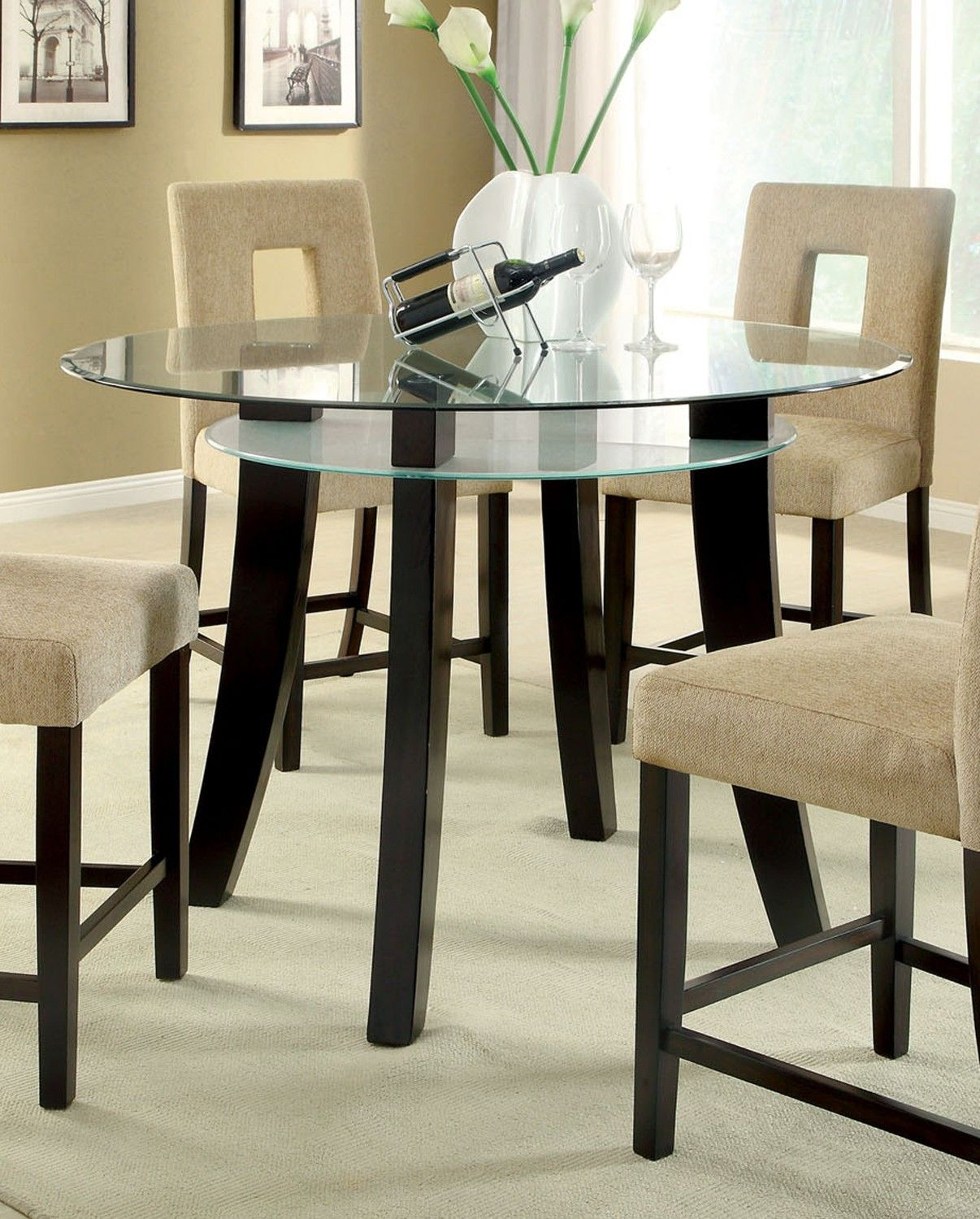 Table Only 174 Grandam Ii Counter Height Table With Glass Top In Espre Glass Kitchen Tables Glass Round Dining Table