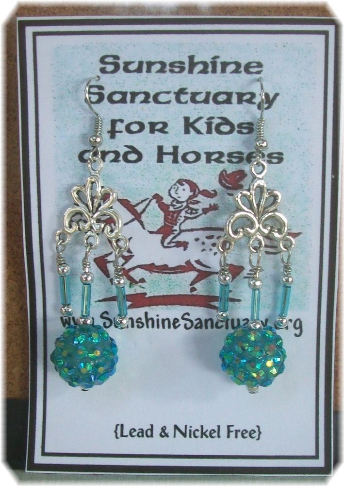 Tibetan Silver Blue Disco Ball  Dangle Earrings -- Unique Handmade in USA #Handmade #Chandelier