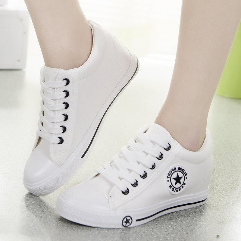 VULCANIZE SHOES WEDGE SNEAKERS WOMEN TRAINERS SUMMER CANVAS SHOES WHITE SNEAKERS FEMME LACE-UP LADIE