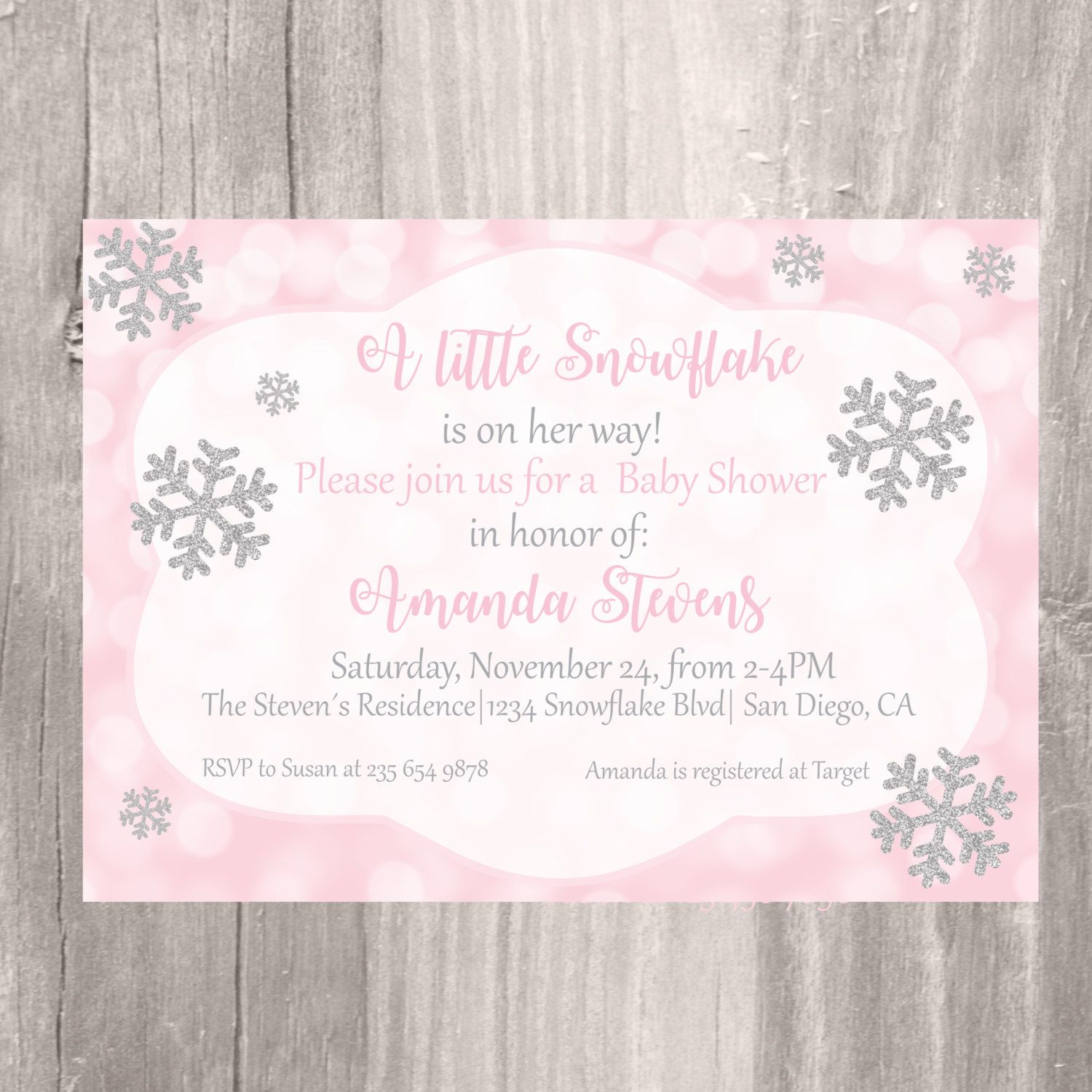 Winter Baby Shower Invitation, Pink and Silver Snowflake Printable ...