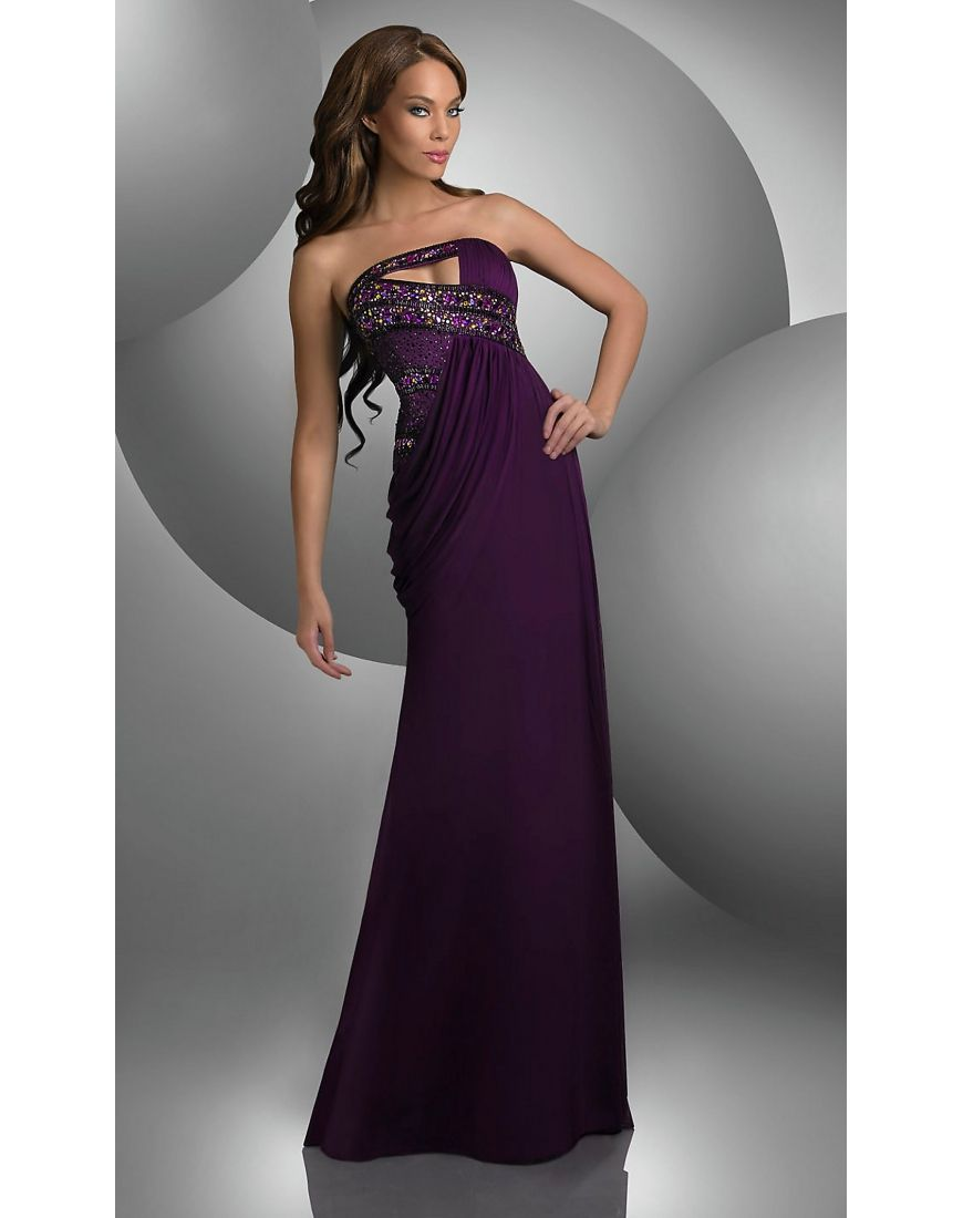 Beading strapless chiffon purple column evening dress formal
