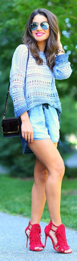 Maria Filo Chambray Washed Denim Culotte Shorts
